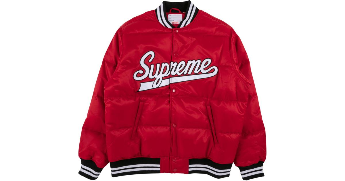 140fc420dc5 Supreme Script Varsity Puffy Jacket in Red for Men - Lyst