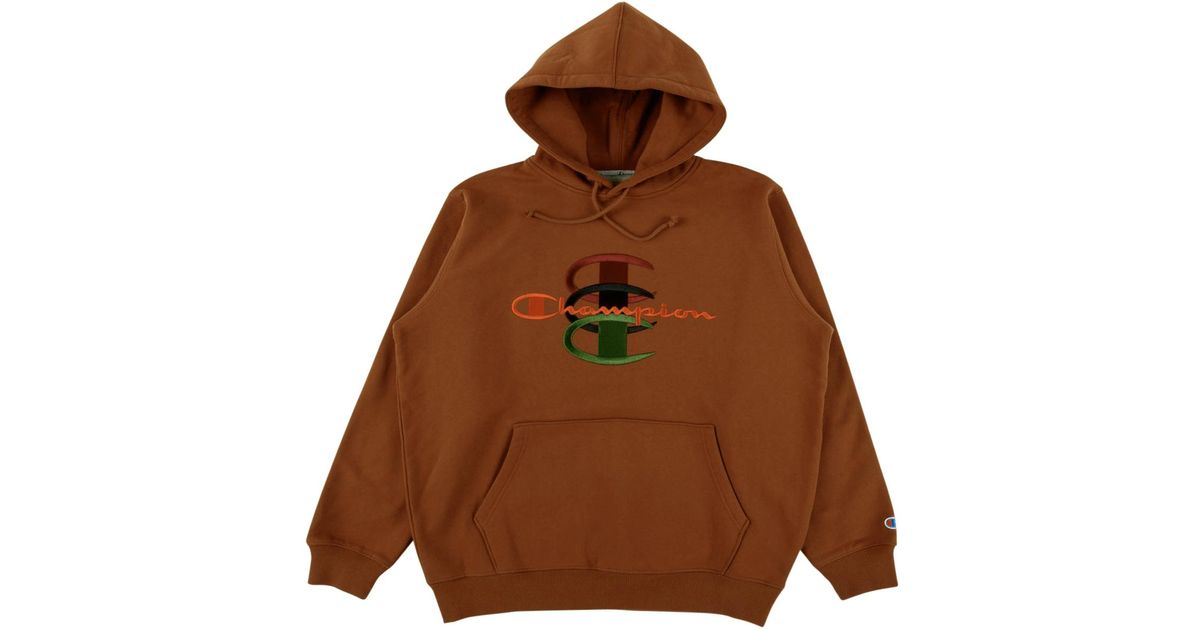 75f5a0cec4b5 Supreme Champion Stacked C Hooded Swea in Brown for Men - Lyst