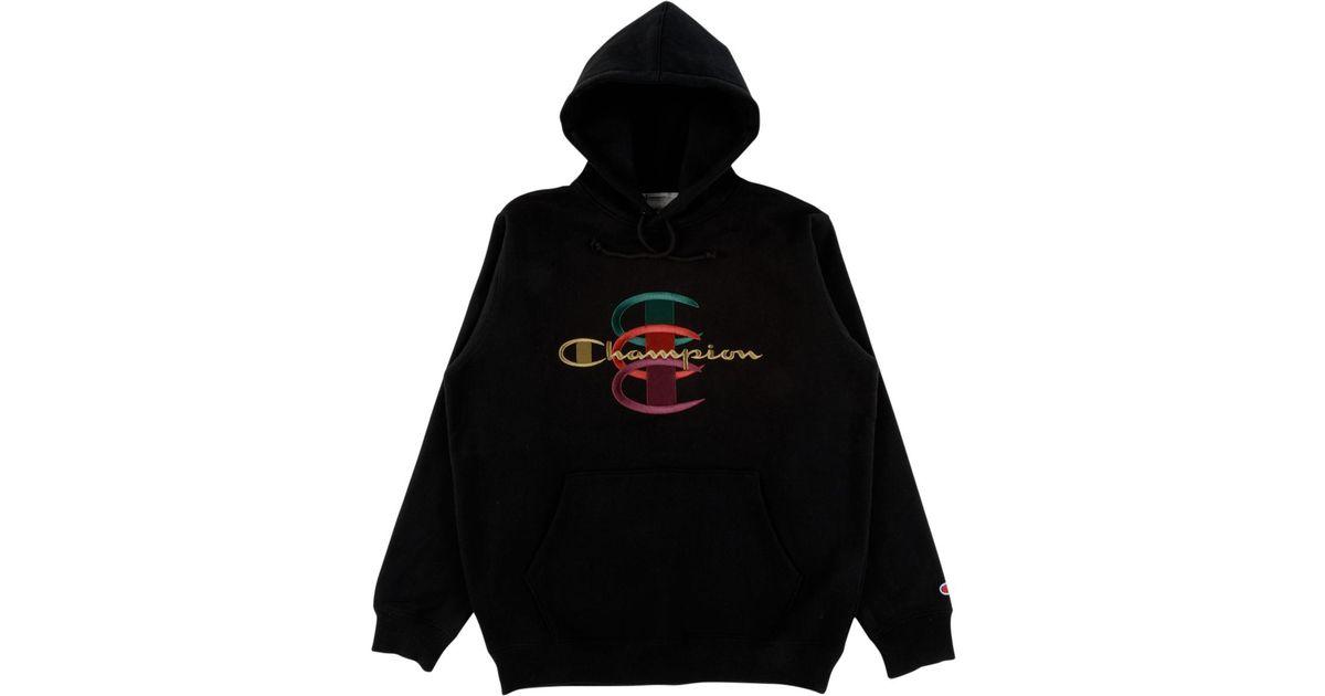 Champion Swea Men Supreme C For Stacked Hooded Black qc3ASRL54j