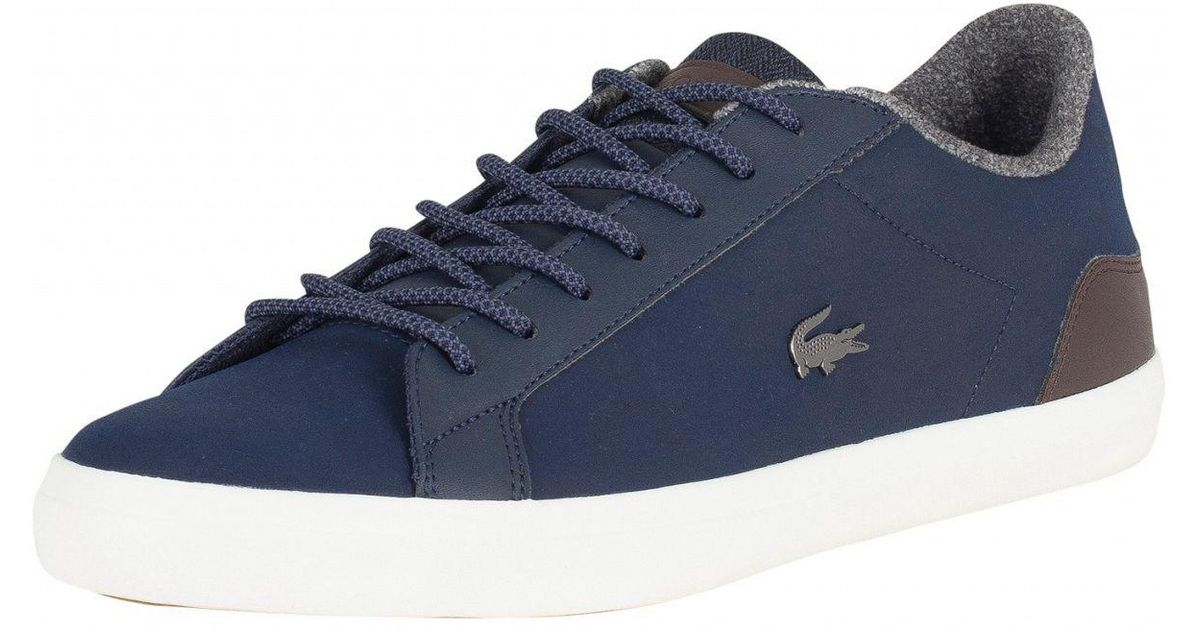 5c2c32a58 Lacoste Navy brown Lerond 318 2 Cam Leather Trainers in Blue for Men - Lyst