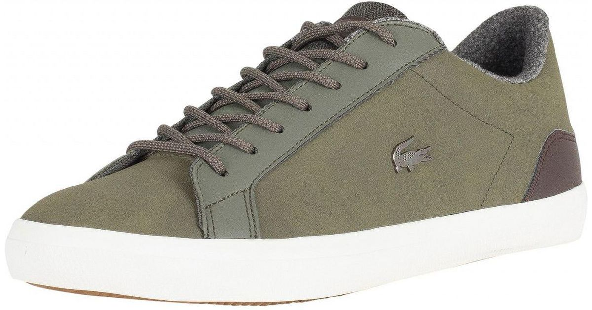 f0b458241 Lyst - Lacoste Khaki brown Lerond 318 2 Cam Leather Trainers in Brown for  Men