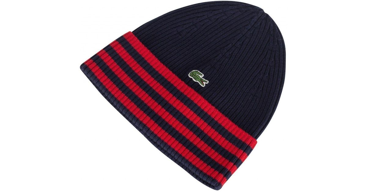0bdbf9a5630 Lacoste Striped Cotton Beanie in Blue for Men - Lyst