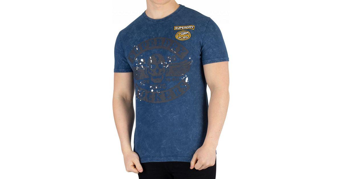 New Mens Superdry Mens Black Letter T-Shirt Skate Navy
