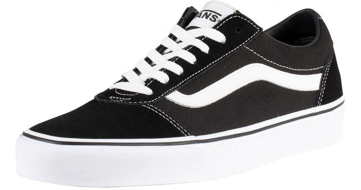 2f1422e7874 Lyst - Vans Black white Ward Suede Canvas Trainers in Black for Men