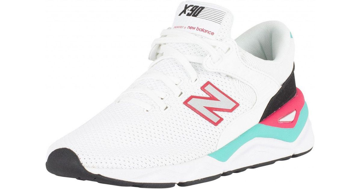 White/pink/green X-90 Trainers