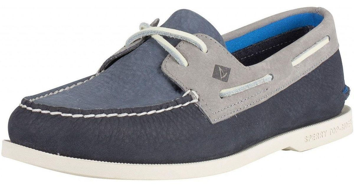 Lyst - Sperry Top-Sider Navy grey A o 2- Eye Plush Washable Boat Shoes in  Blue for Men 8b086cb210d