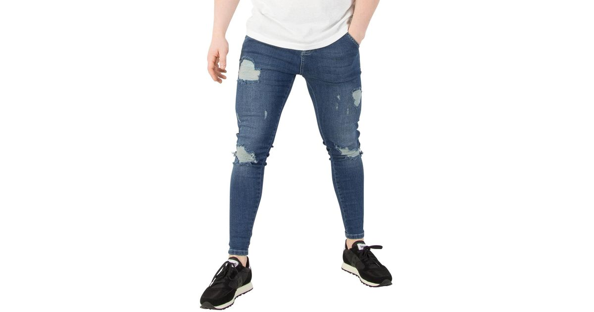 26a9ff688d Sik Silk Midstone Skinny Distressed Denim Jeans in Blue for Men - Lyst