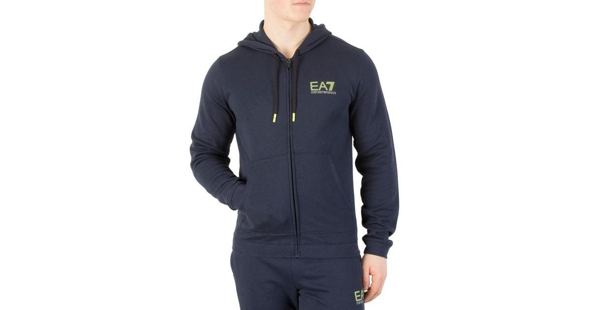 f6f3c5ad1a EA7 Blue Navy Natural Ventus Zip Hoodie for men