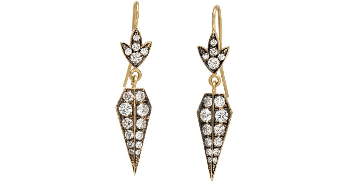 Sylva & Cie Baby Shield Diamond Earrings - Lyst