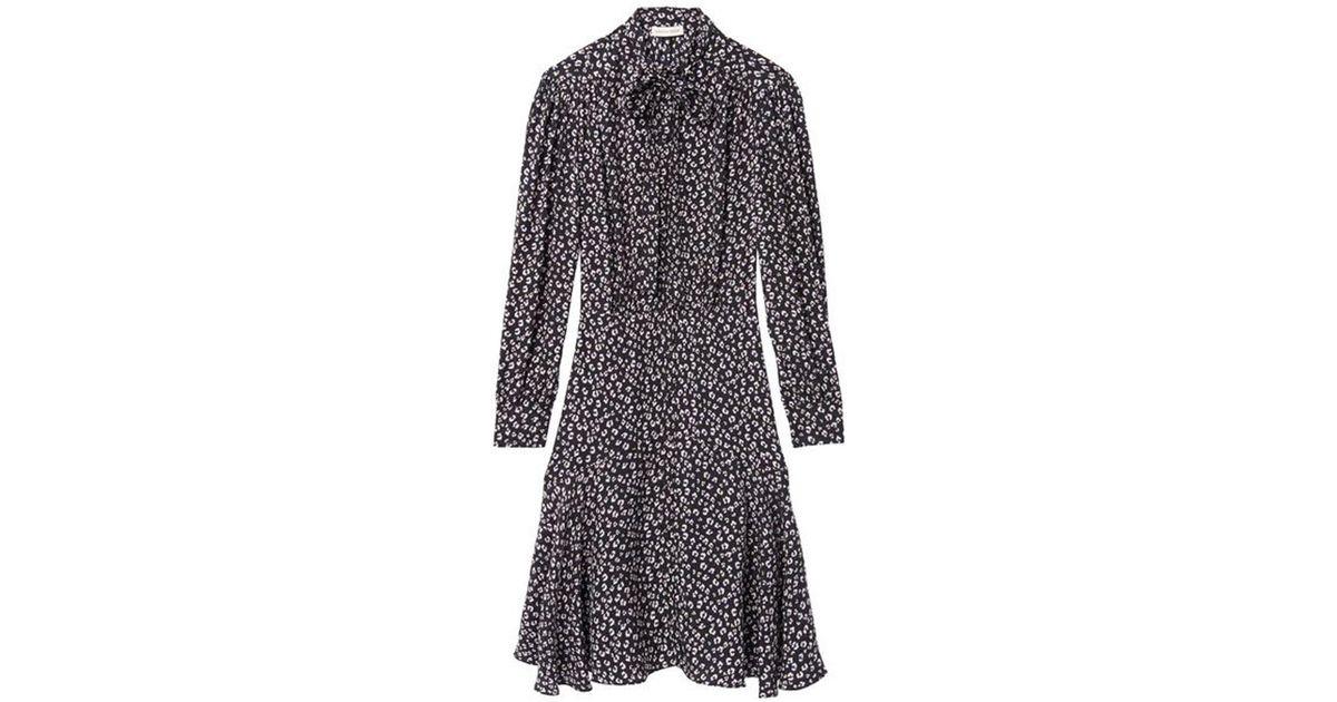 6d9a9c26b7 Lyst - Rebecca Taylor Black Long Sleeve Mini Cheetah Dress in Black