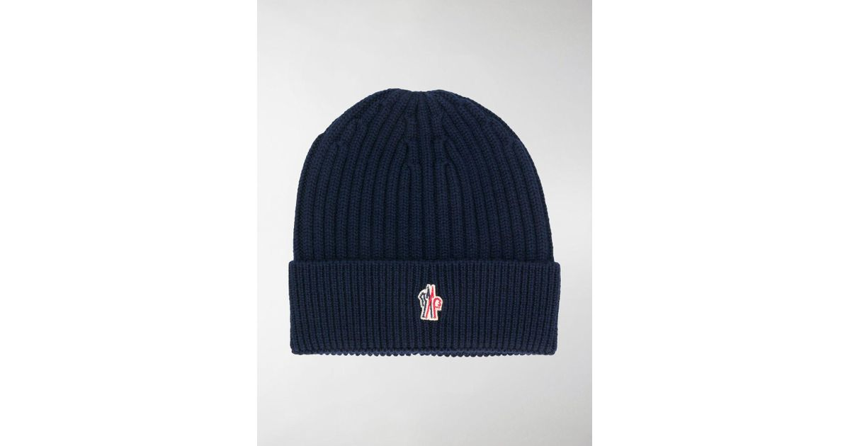 a34bb0280425e Lyst - Moncler Grenoble Rib Beanie in Blue for Men - Save 24%
