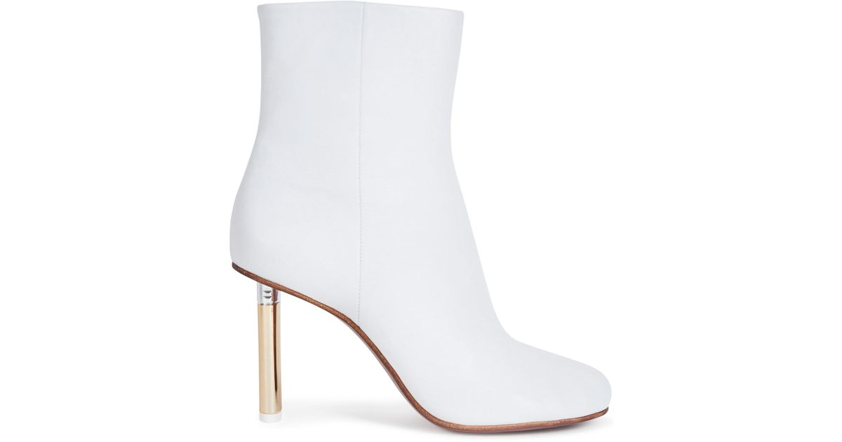 bd1fed70b Lyst - Vetements Lighter Heel Leather Ankle Boots in White