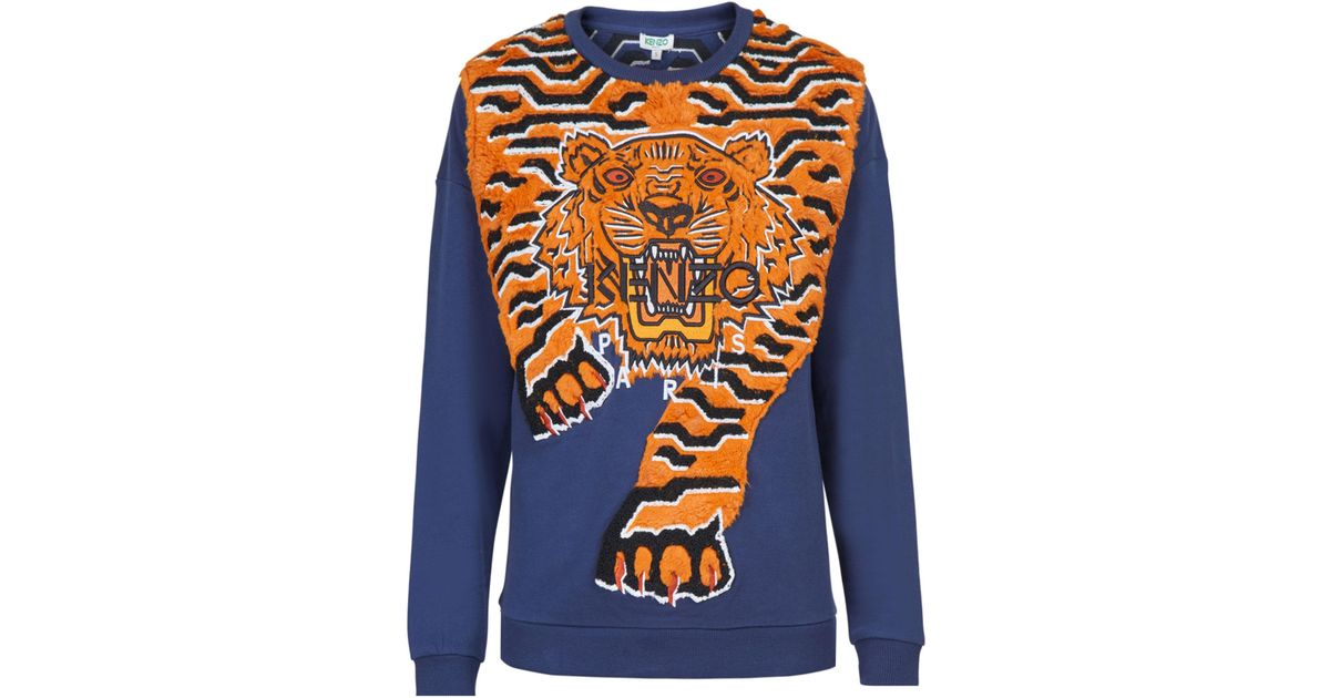 09491c312d9b Lyst - KENZO 3d Geo Tiger Cotton Sweatshirt in Blue
