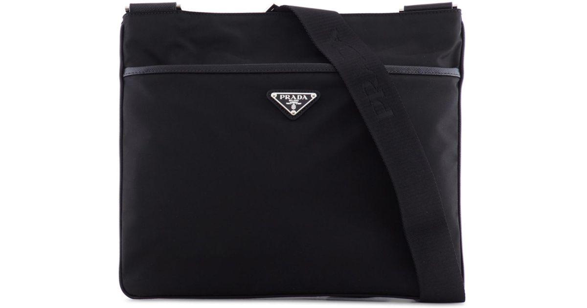 a9414bbad37af0 Prada Flat Nylon Crossbody Bag in Black for Men - Lyst