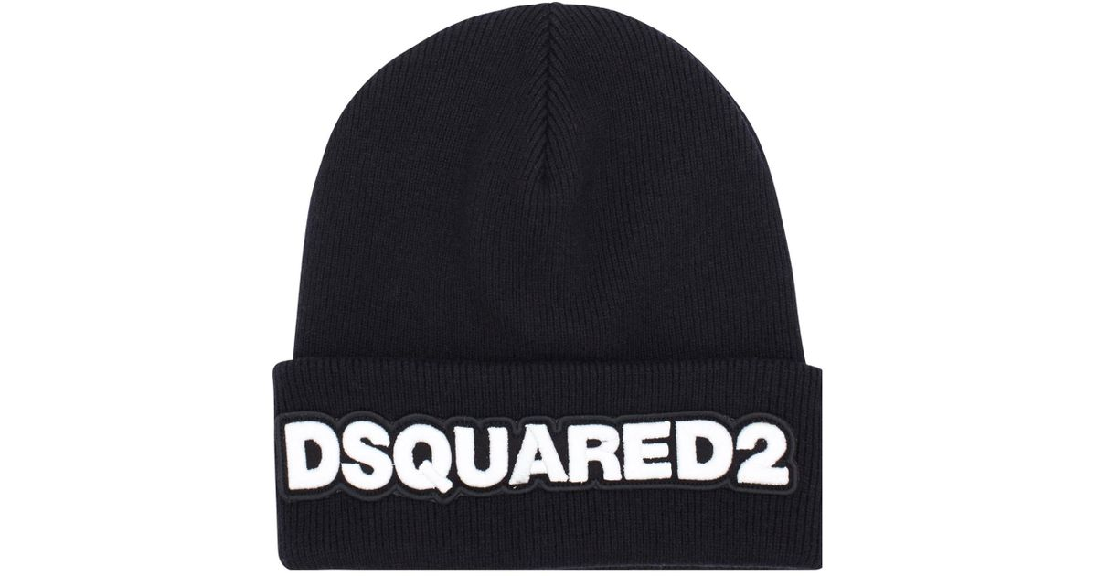 e8e7a88a47b Lyst - DSquared² Logo Wool Beanie in Black for Men