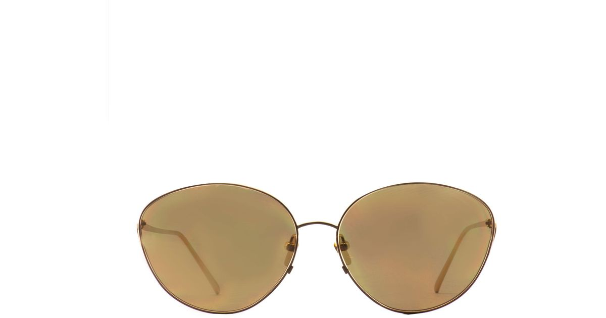 bf5415a52a4 Lyst - Linda Farrow 508 C1 Gold Plated Sunglasses in Yellow