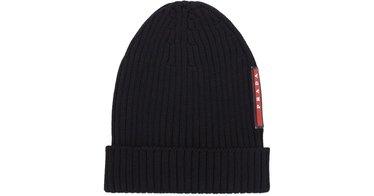 Lyst - Prada Ribbed Virgin Wool Beanie in Black for Men 7fb1011af94a