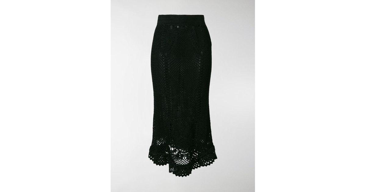 13c7e3f039 Dolce & Gabbana Crochet Midi Skirt in Black - Lyst