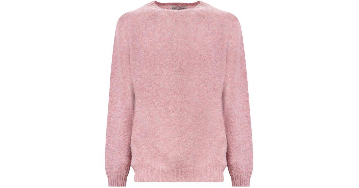 Lyst - Officine generale Soft Shetland Sweater in Pink for Men