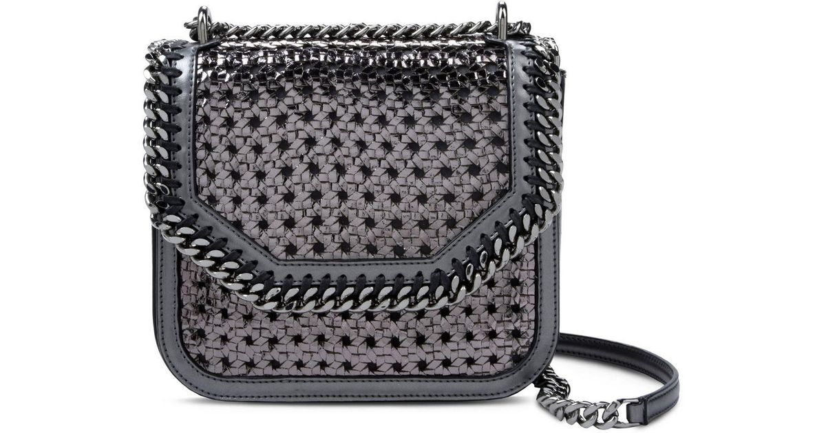 4817ce1fe4 Lyst - Stella McCartney Ruthenium Falabella Box Wicker Mini Shoulder Bag