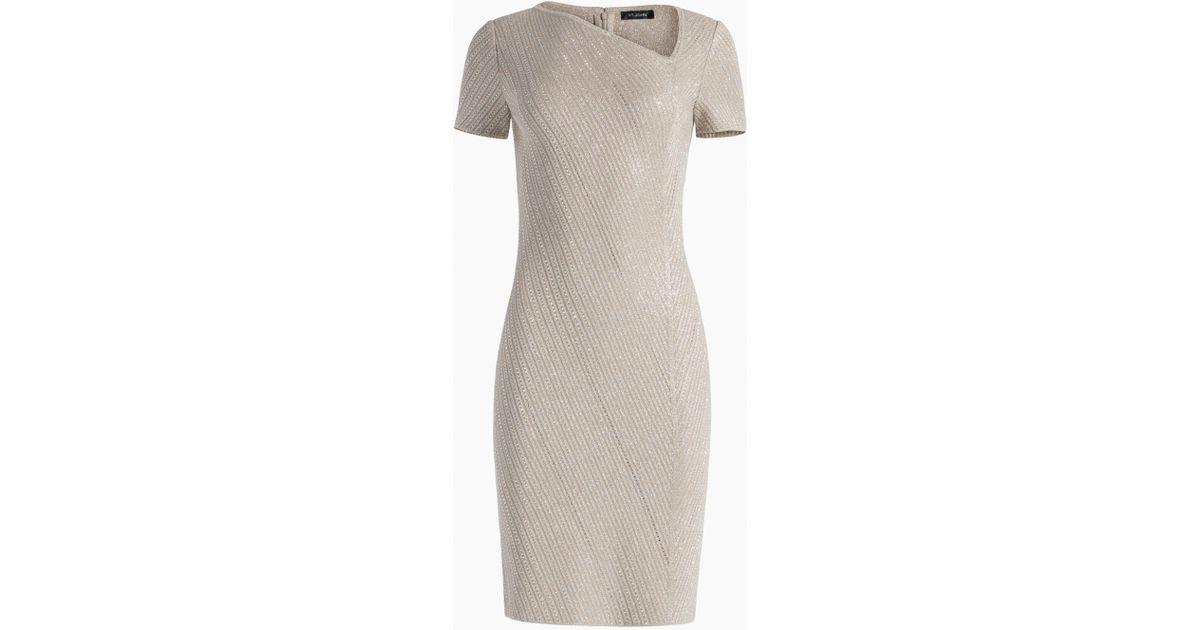 c63ad5b8ad1f Lyst - St. John Brielle Knit Asymmetrical Neck Dress in Natural