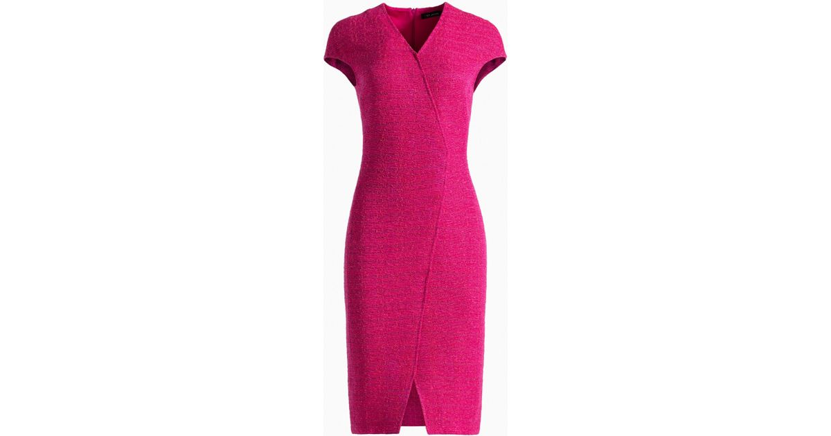 249bbb46 Lyst - St. John Andrea Knit Cap Sleeve Dress in Pink