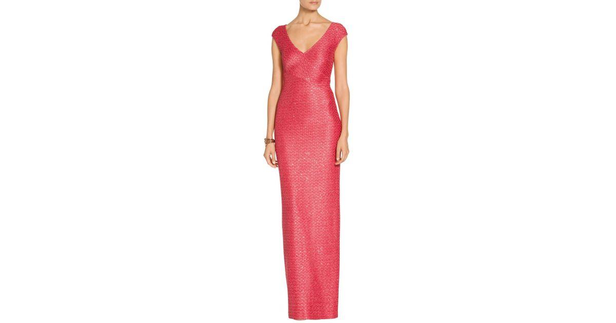 Lyst - St. John Sale Hansh Knit V-neck Cap Sleeve Gown in Pink