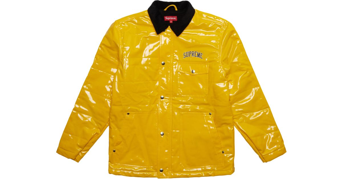 separation shoes 37082 d8163 Supreme Quilted Patent Vinyl Work Jacket Yellow in Yellow for Men - Lyst