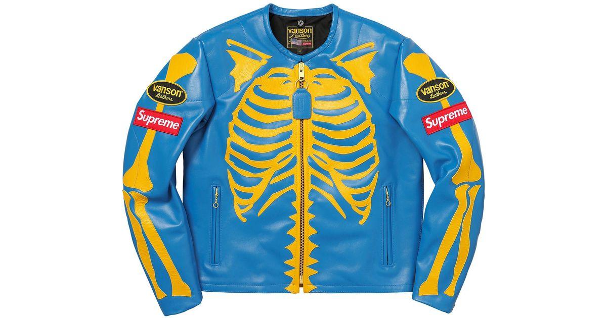 5cafd3aac Supreme Vanson Leather Bones Jacket Blue for men
