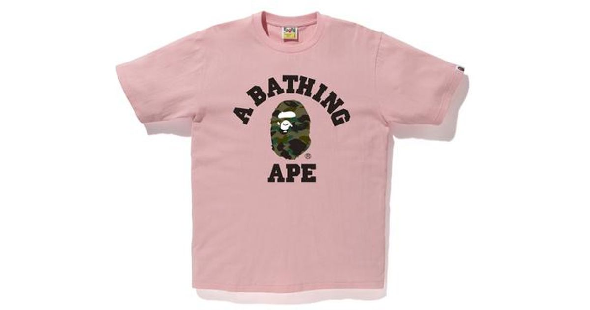 d25cae0d5 A Bathing Ape 1st Camo College Tee Pink in Pink for Men - Lyst
