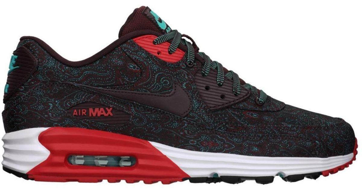 Nike Red Air Max Lunar90 Burgundy paisley for men