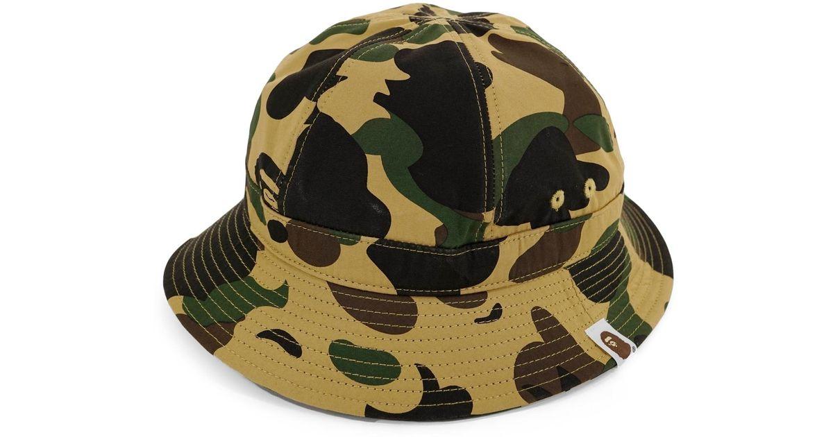 b46802aa6 A Bathing Ape 1st Camo Metro Bucket Crusher Hat Yellow for men