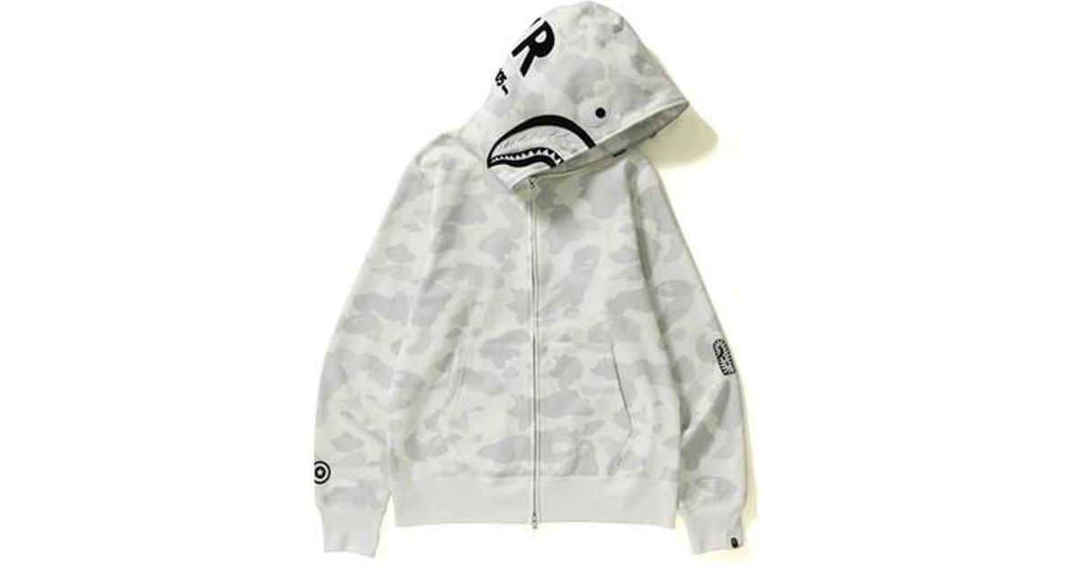 59857b3ed3a7 Lyst - A Bathing Ape City Camo Shark Full Zip Hoodie White black in White  for Men