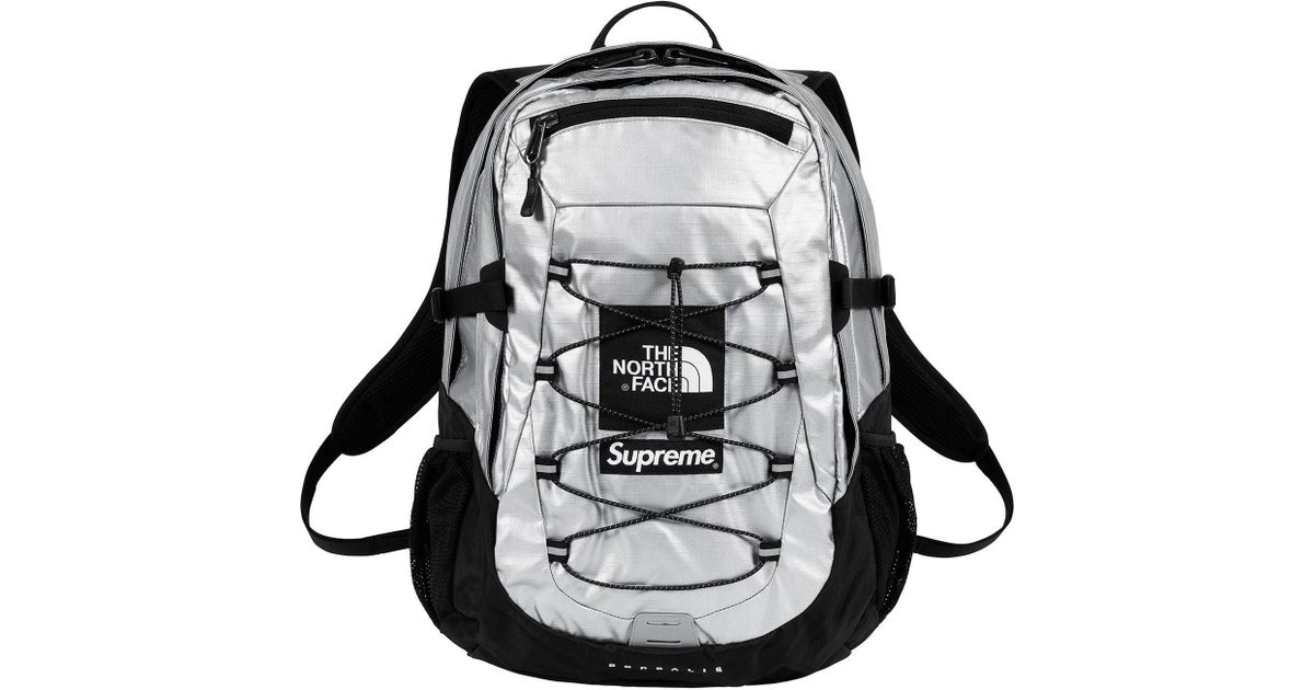 e8b800529 Supreme The North Face Metallic Borealis Backpack Silver for men