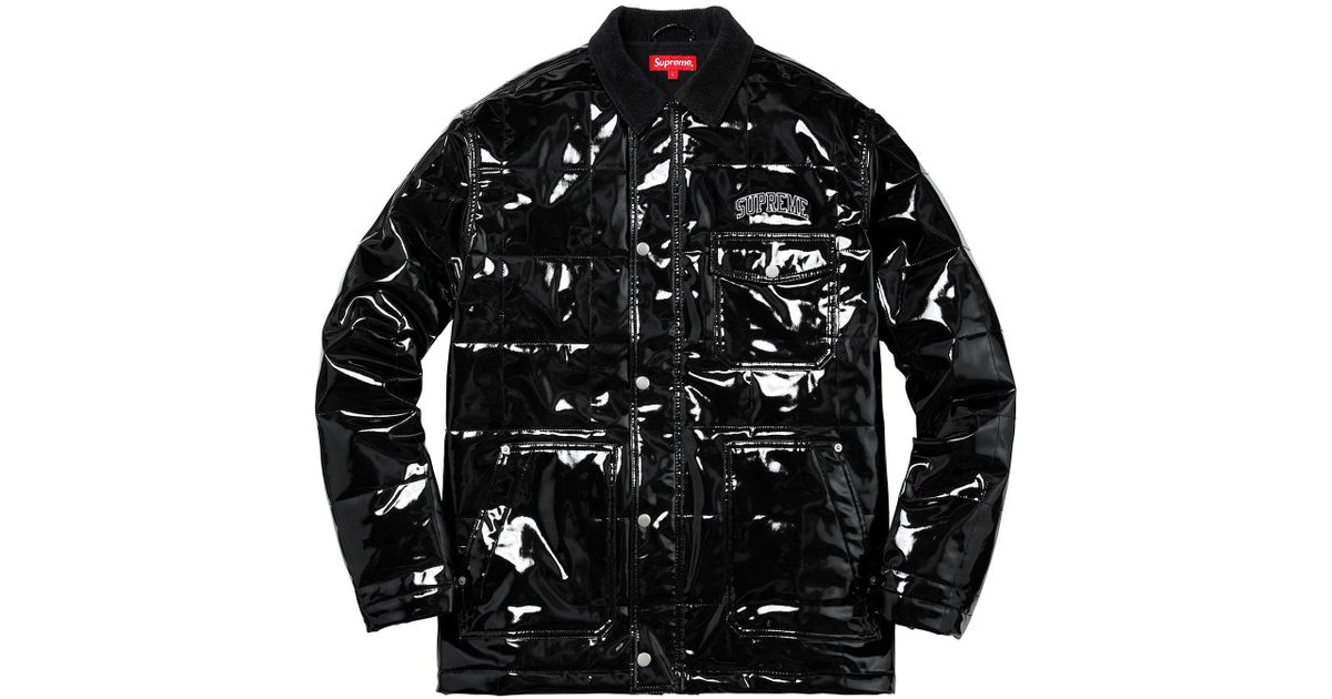 premium selection d4b2b 0fd87 Supreme Quilted Patent Vinyl Work Jacket Black in Black for Men - Lyst