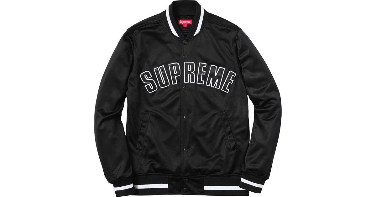 Supeme Jacket Supreme Mesh Varsity Jacket Black for Men - Lyst