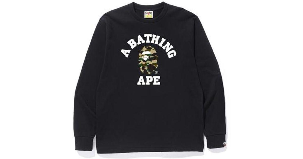 8fe3e1a8f156 Lyst - A Bathing Ape 1st Camo College L s Tee Black beige in Black for Men