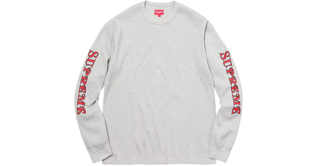 986f51d82e2b Lyst - Supreme Sleeve Logo Waffle Thermal Heather Grey in Gray for Men
