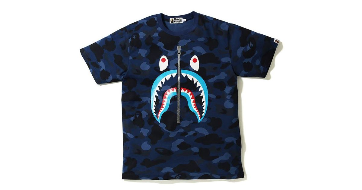 b03ea668 A Bathing Ape Color Camo Shark Blue Mouth Tee Navy in Blue for Men - Lyst