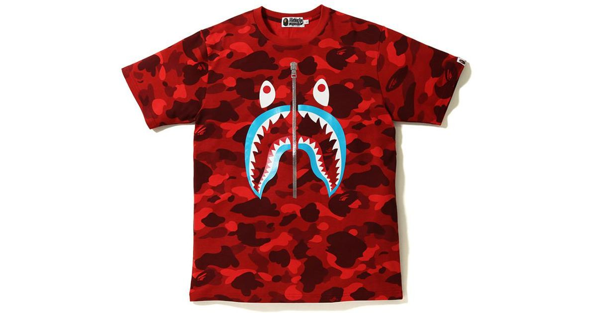 9900abc37f6eb9 A Bathing Ape Color Camo Shark Blue Mouth Tee Red in Red for Men - Lyst