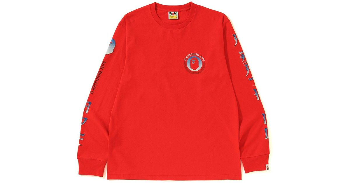 d303fc84d Lyst - A Bathing Ape Master Ls Tee Red in Red for Men