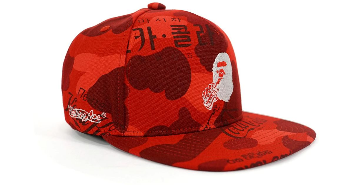 0e9e5b28 A Bathing Ape Coca Cola Camo Snapback Hat Red in Red for Men - Lyst