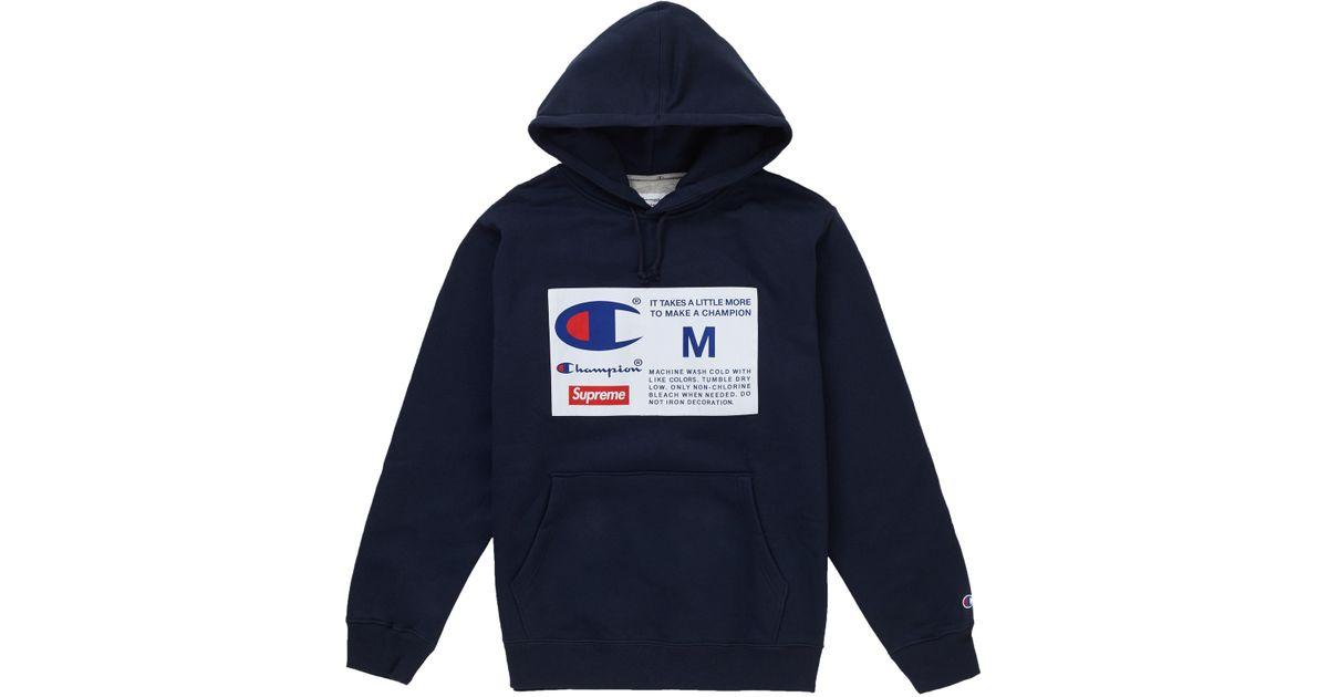c49f7311 Supreme Champion Label Hooded Sweatshirt Navy in Blue for Men - Lyst