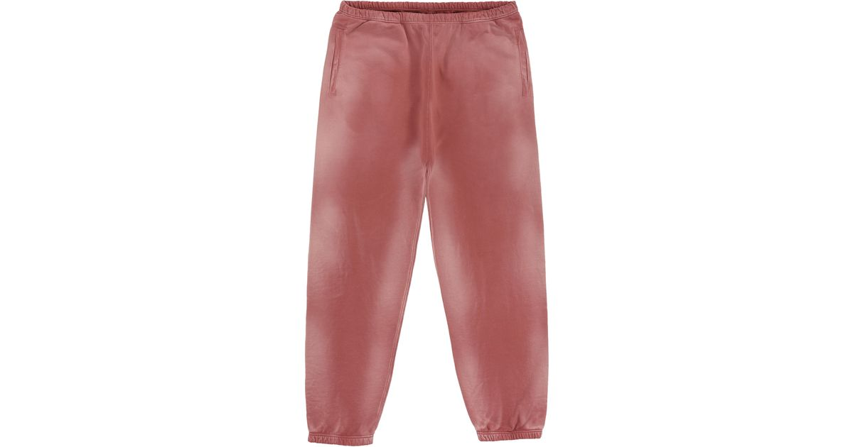 Red Bleached Sweatpants with Buffalo Patch