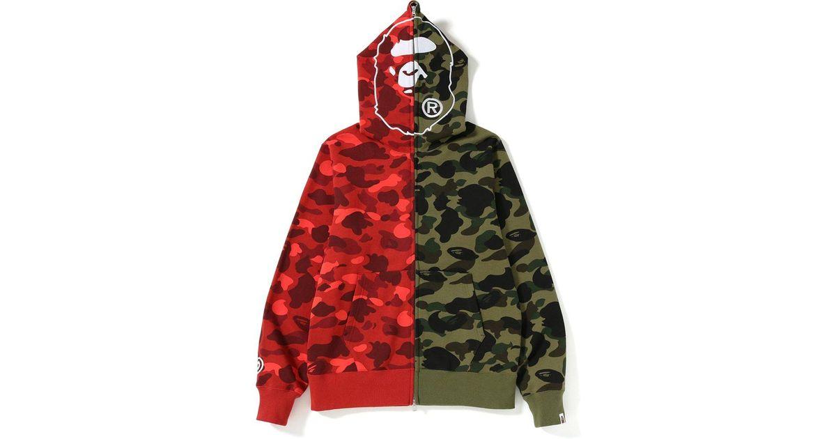 e49d8b4d A Bathing Ape 1st X Color Camo 2nd Ape Half Full Zip Hoodie Green/red for  Men - Lyst