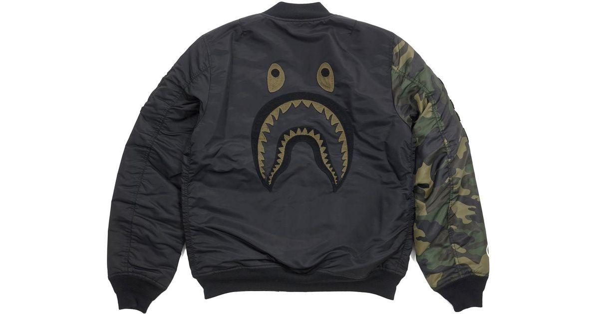 356cf726b A Bathing Ape Undefeated Woodland Camo Sleeve Capsule Shark Ma1 Bomber  Flight Jacket Black/green for men