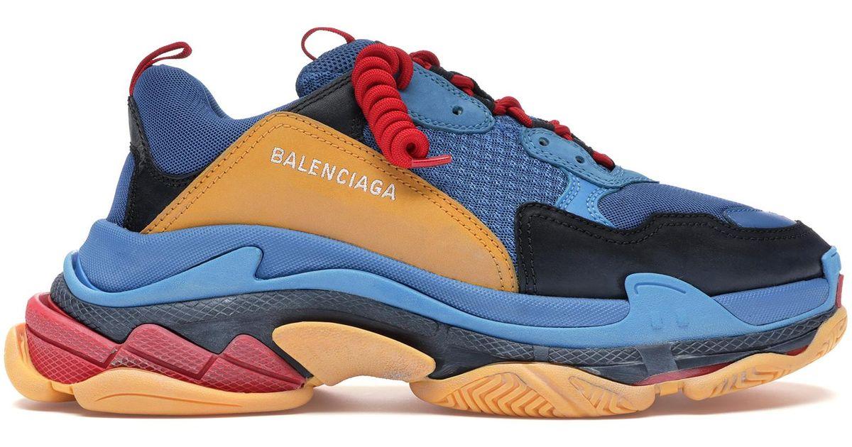 Balenciaga Triple S Blue Orange Red for