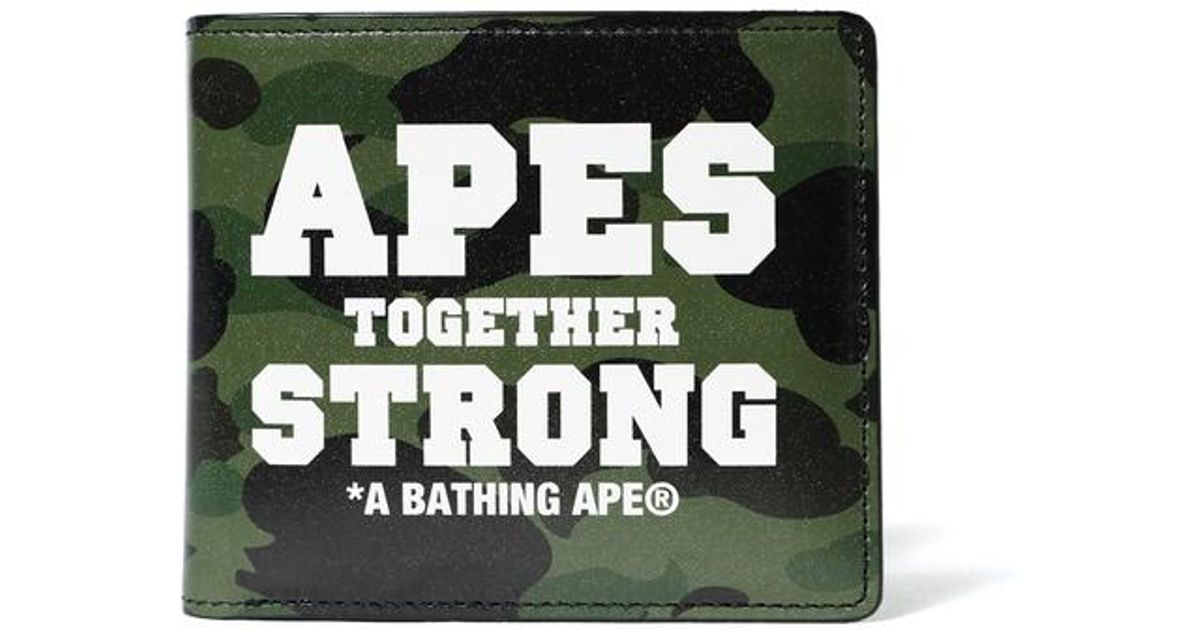 A Bathing Ape 1st Camo Ats Leather Wallet Green/white for men