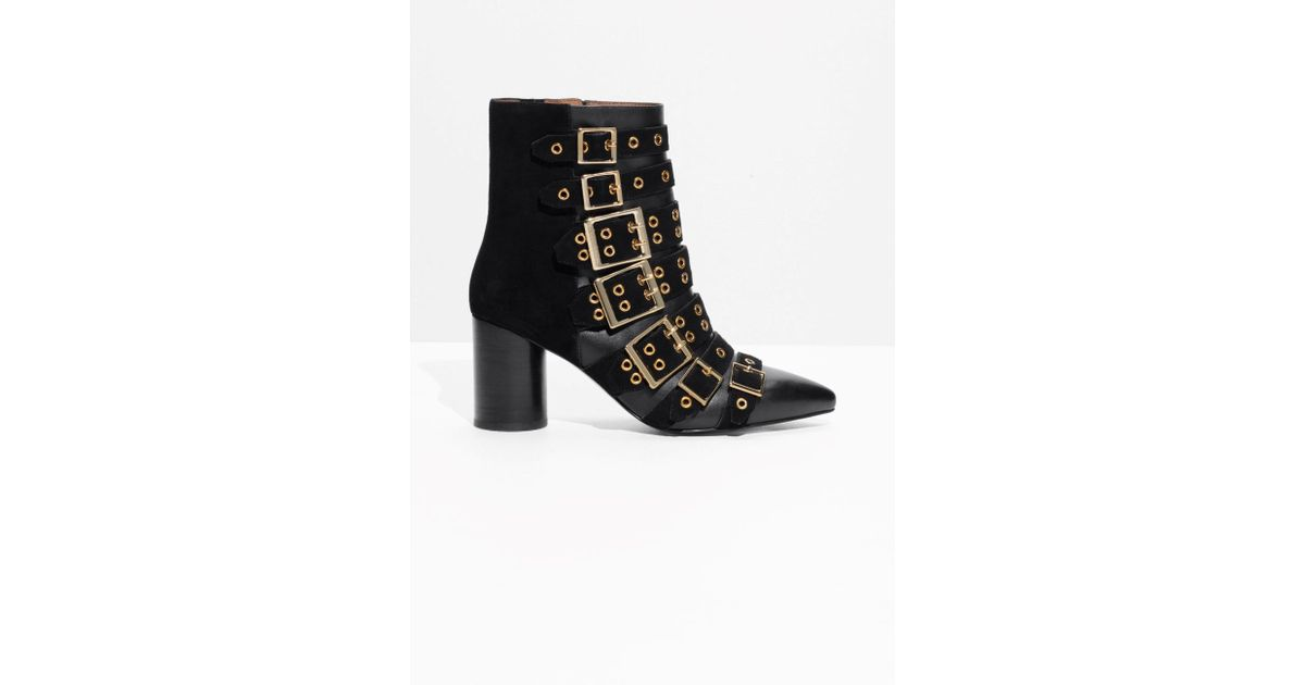 fcc914e2d2d Lyst -   Other Stories Multi Buckle Ankle Boots in Black