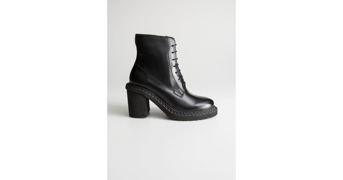 c90d330a0 & Other Stories Lace Up Leather Ankle Boots in Black - Lyst